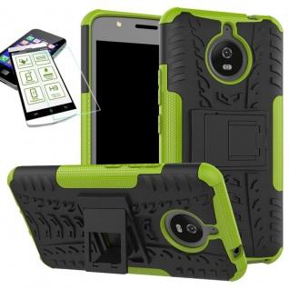 Hybrid Case Tasche 2teilig Grün für Motorola Moto E4 Plus + H9 Hartglas Hülle