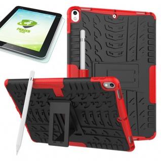 Hybrid Outdoor Hülle Rot für Apple iPad Pro 10.5 Tasche + 0.4 H9 Hartglas Case