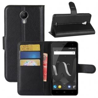 Tasche Wallet Premium Schwarz für Wiko Jerry 2 Hülle Case Cover Etui Schutz Neu