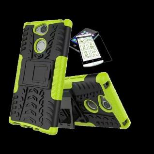 Für Sony Xperia XA2 Plus Hybrid Case 2 teilig Grün Hülle + 0, 3 mm H9 Glas Tasche