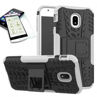Hybrid Case Tasche 2teilig Weiß für Samsung Galaxy J3 2017 J330F + H9 Hartglas