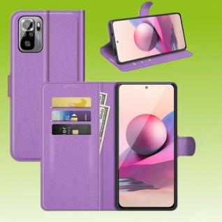 Für Xiaomi Redmi Note 10 / 10s Handy Tasche Lila Etuis Kunst-Leder Cover Hülle