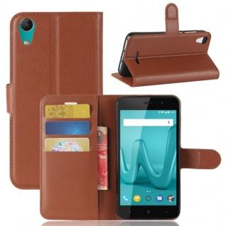 Tasche Wallet Premium Braun für Wiko Lenny 4 Hülle Case Cover Etui Schutz Neu