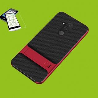 Für Huawei Mate 20 Lite Standing Hybrid Tasche Hülle Outdoor Etuis Rot + H9 Glas