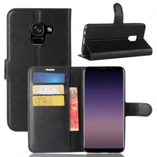Tasche Wallet Premium Schwarz für Samsung Galaxy A8 2018 A530F Hülle Case Cover