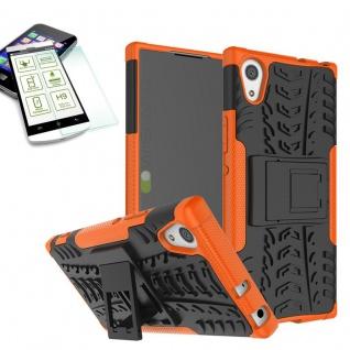 Hybrid Case 2 teilig Orange für Sony Xperia XA1 Hülle + 0, 3 H9 Hartglas Tasche