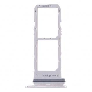 Dual Sim Karten Halter für Samsung Galaxy Note 10 Weiß Card Tray