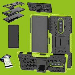 Für Sony Xperia 1 6.5 Zoll Hybrid Case Grün Hülle + 0, 3 mm H9 Glas Tasche Etuis