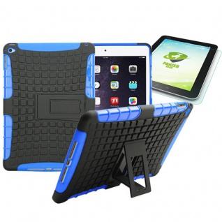 Hybrid Outdoor Schutzhülle Blau für iPad Air 2 Tasche + 0.4 H9 mm Hartglas Neu