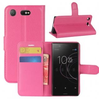 Schutzhülle Pink für Sony Xperia XZ1 Compact / Mini Bookcover Tasche Case Cover