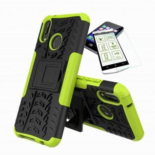 Für Huawei P20 Lite Hybrid Tasche Outdoor 2teilig Grün Hülle + H9 Glas Hülle Neu