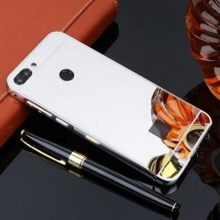 Spiegel / Mirror Alu Bumper 2teilig Silber für Huawei P Smart Tasche Hülle Cover