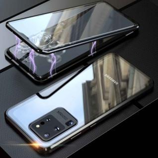 Beidseitige Magnet Glas Bumper Handy Schwarz für Samsung Galaxy S20 Ultra Tasche