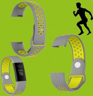 Für Fitbit Charge 3 Kunststoff Silikon Armband für Männer Größe L Grau-Gelb Uhr