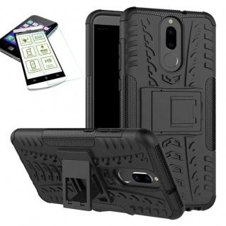 Hybrid Case Tasche Outdoor 2teilig Schwarz für Huawei Mate 10 Lite Hülle + Glas
