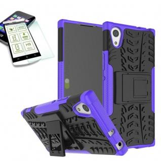 Hybrid Case 2 teilig Lila für Sony Xperia XA1 Hülle + 0, 3 H9 Hartglas Tasche
