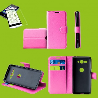 Für Samsung Galaxy S10e G970F Tasche Wallet Etuis Pink Hülle + H9 Hart Glas Case