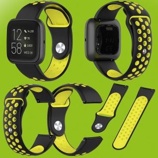 Für Fitbit Versa 2 Kunststoff Silikon Armband für Frauen Größe S Schwarz-Gelb
