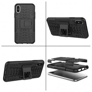 Hybrid Tasche Outdoor 2teilig Schwarz für Apple iPhone X / XS 5.8 + Hartglas - Vorschau 3