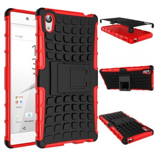 Hybrid Case 2teilig Outdoor Rot Tasche Hülle für Sony Xperia Z5 5.2 Zoll Cover