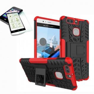 Hybrid Case Tasche Outdoor 2teilig Rot für Huawei P9 + H9 Hartglas Cover Etui
