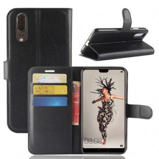 Tasche Wallet Premium Schwarz für Huawei P20 Hülle Case Cover Schutz Etui Schale
