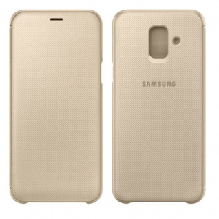 Samsung Wallet Cover Hülle EF-WA605CFEGWW Galaxy A6 Plus 2018 A605F Tasche Gold