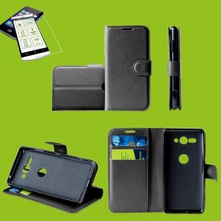 Für Motorola Moto E6 Plus Handy Tasche Kunst-Leder Schwarz Etuis + H9 Glas Hülle