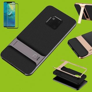 Standing Hybrid Tasche Etuis Grau für Huawei Mate 20 Pro + 4D H9 Curved Glas Neu