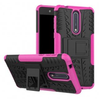 Hybrid Case 2teilig Outdoor Pink Tasche Hülle für Nokia 8 Schutz Etui Cover Neu