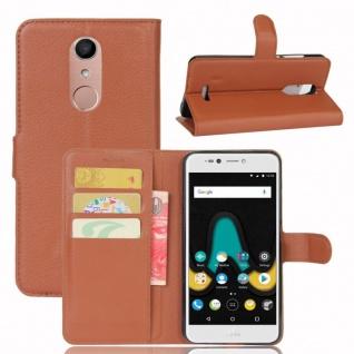 Tasche Wallet Premium Braun für Wiko Upulse Lite Hülle Case Cover Etui Schutz