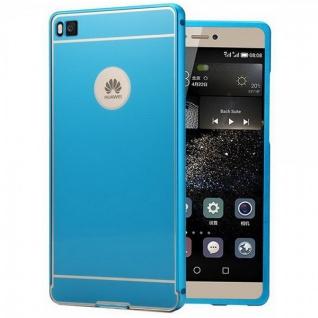 Alu Bumper 2 teilig Blau + 0, 3 mm H9 Hartglas für Huawei Ascend P8 Tasche Case - Vorschau 2