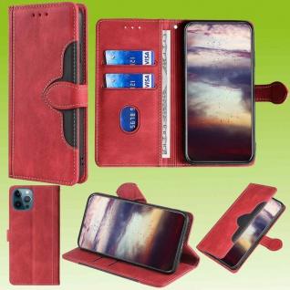 Für Apple iPhone 13 Pro Design Handy Tasche Rot Etuis Schutz Kunst-Leder Hülle