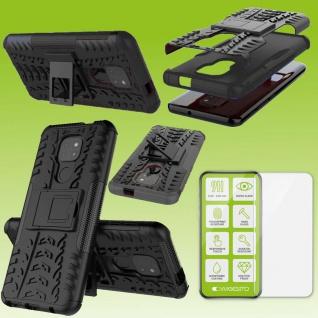 Für Motorola Moto E7 Plus Handy Tasche Cover Hülle Etuis Schwarz Case + H9 Glas