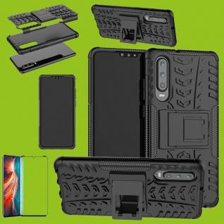 Für Huawei P30 Hybrid Tasche Etuis 2teilig Schwarz Hülle + 4D Curved H9 Glas Neu