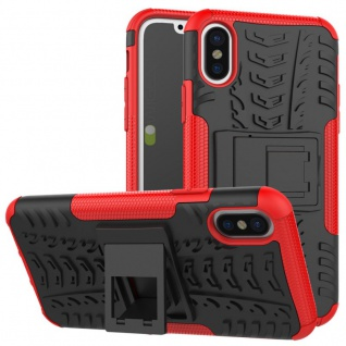 New Hybrid Case 2teilig Outdoor Rot für Apple iPhone X 5.8 Zoll Tasche Hülle Neu