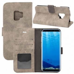 Deluxe Retro Tasche Wallet Grau für Samsung Galaxy S9 G960F Hülle Case Cover