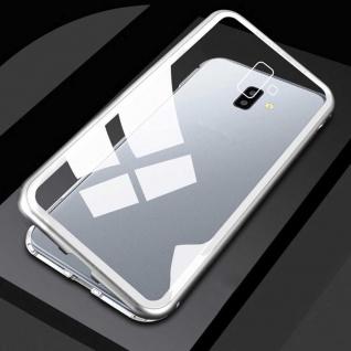 Für Samsung Galaxy J4 Plus J415F Magnet Metall Glas Transparent Silber Tasche