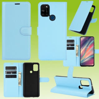 Für Wiko View 5 / 5 Plus Handy Tasche Blau Etuis Kunst-Leder Cover Hülle Case