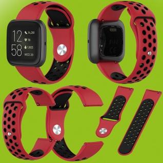 Für Fitbit Versa 2 Kunststoff Silikon Armband für Frauen Größe S Rot-Schwarz Neu