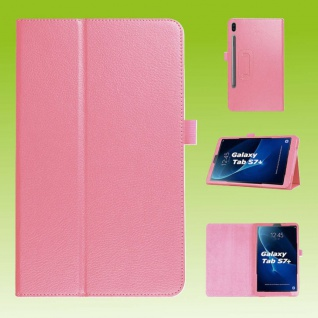 Für Samsung Galaxy Tab S7 Plus / S7 FE Rosa Kunst Leder Hülle Tablet Tasche Etuis Cover