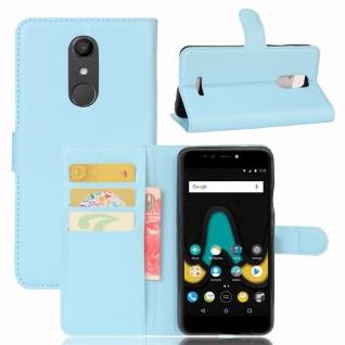 Tasche Wallet Premium Hellblau für Wiko Upulse Hülle Case Cover Etui Schutz Neu