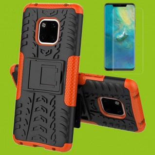 Für Huawei Mate 20 Pro Hybrid Tasche 2teilig Orange Hülle + 4D Curved H9 Glas