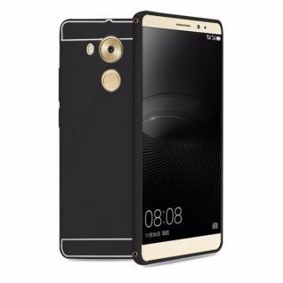Alu Bumper 2 teilig mit Abdeckung Schwarz für Huawei Mate 8 Tasche Hülle Cover