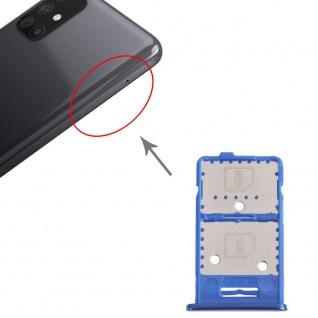 Dual Sim Karten + Micro SD Halter Card Tray für Samsung Galaxy M31s Blau