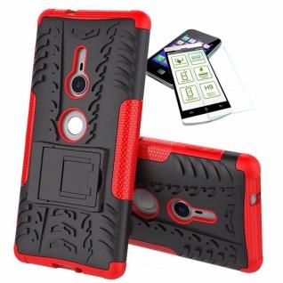 Für Sony Xperia XZ2 Hybrid Case 2 teilig Rot Hülle + 0, 3 mm H9 Hartglas Tasche