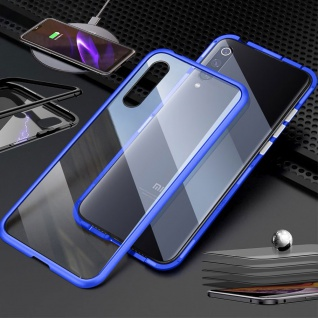 Für Samsung Galaxy A51 A515F Magnet Metall Glas Transparent / Blau Tasche Hülle