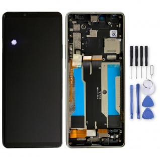 Sony LCD Display mit Rahmen für Xperia 10 III 3. Gen A5034093A Weiß Ersatz Teil