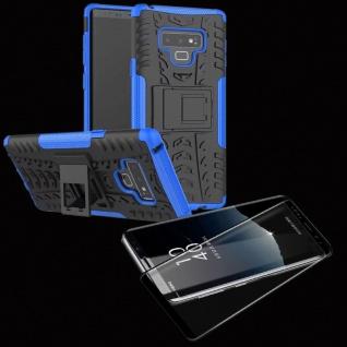 Hybrid Case Tasche 2teilig Blau für Samsung Galaxy Note 9 N960 + 4D Glas Schwarz