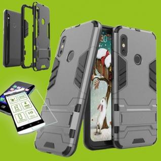 Für Xiaomi MI A2 Lite Tasche Metal Style Hybrid Case Hülle Grau + H9 Glas Cover